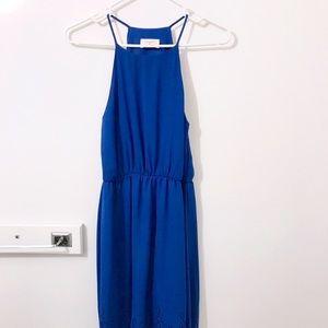 Anthro. Everly Blue Halter Mini Dress - Small